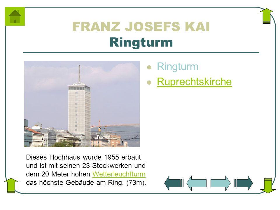 FRANZ JOSEFS KAI Ringturm Ringturm Ruprechtskirche Dieses Hochhaus wurde 1955 erbaut und ist mit seinen 23 Stockwerken und dem 20 Meter hohen Wetterle