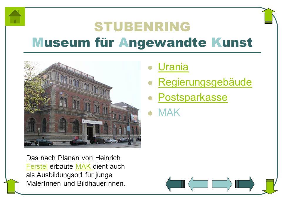 STUBENRING Museum für Angewandte Kunst Urania Regierungsgebäude Postsparkasse MAK Das nach Plänen von Heinrich Ferstel erbaute MAK dient auch als Ausb