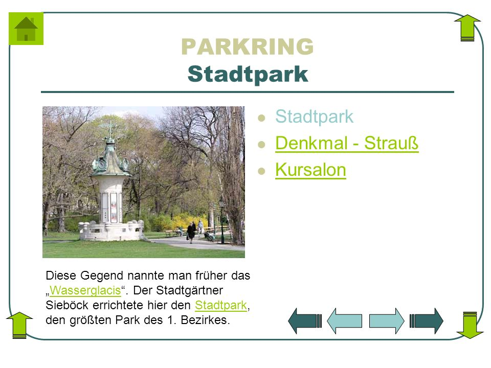 PARKRING Stadtpark Stadtpark Denkmal - Strauß Kursalon Diese Gegend nannte man früher dasWasserglacis. Der Stadtgärtner Sieböck errichtete hier den St