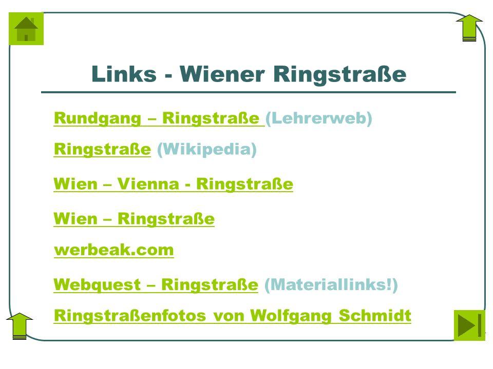 Links - Wiener Ringstraße Wien – Vienna - Ringstraße Wien – Ringstraße werbeak.com Webquest – RingstraßeWebquest – Ringstraße (Materiallinks!) Ringstr