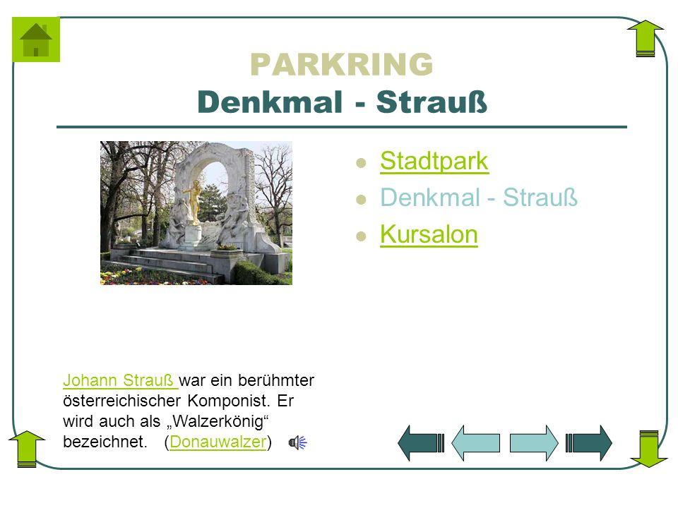 PARKRING Denkmal - Strauß Stadtpark Denkmal - Strauß Kursalon Johann Strauß Johann Strauß war ein berühmter österreichischer Komponist. Er wird auch a