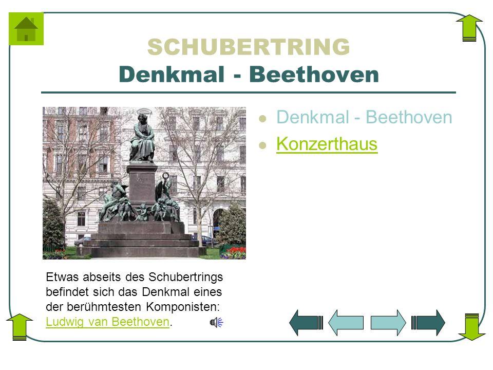 SCHUBERTRING Denkmal - Beethoven Denkmal - Beethoven Konzerthaus Etwas abseits des Schubertrings befindet sich das Denkmal eines der berühmtesten Komp