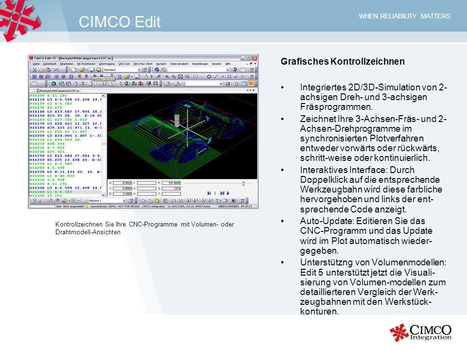 WHEN RELIABILITY MATTERS CIMCO Edit Grafisches Kontrollzeichnen Integriertes 2D/3D-Simulation von 2- achsigen Dreh- und 3-achsigen Fräsprogrammen. Zei