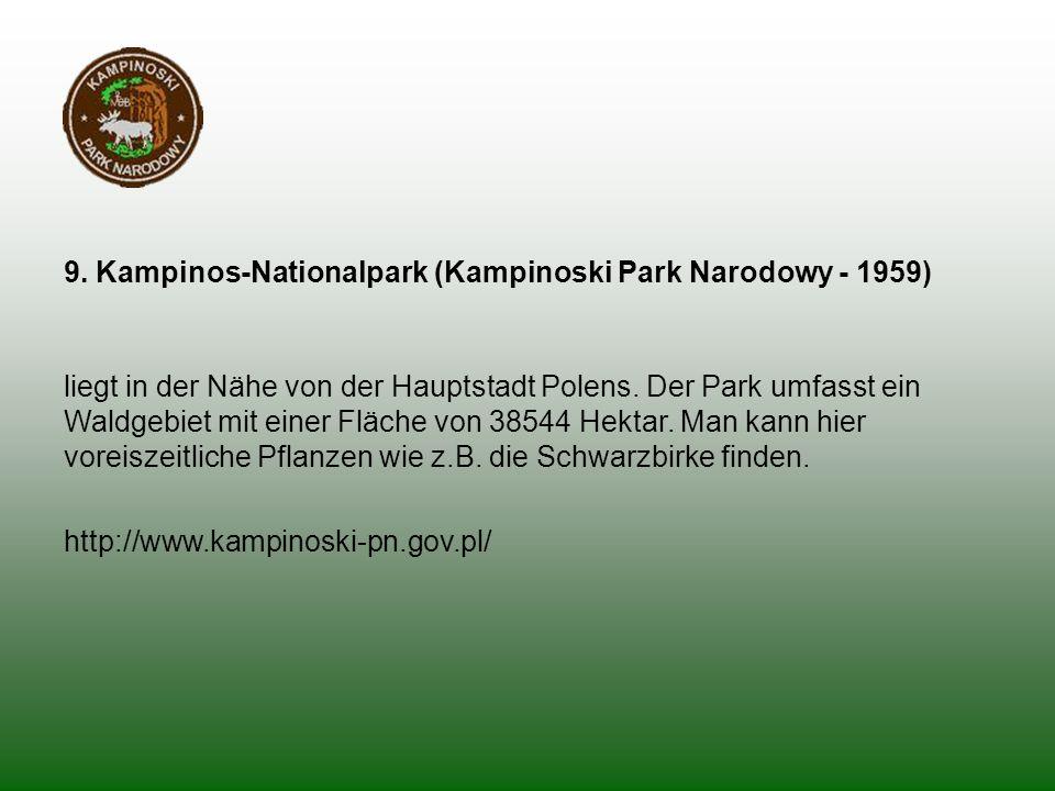 9. Kampinos-Nationalpark (Kampinoski Park Narodowy - 1959) liegt in der Nähe von der Hauptstadt Polens. Der Park umfasst ein Waldgebiet mit einer Fläc