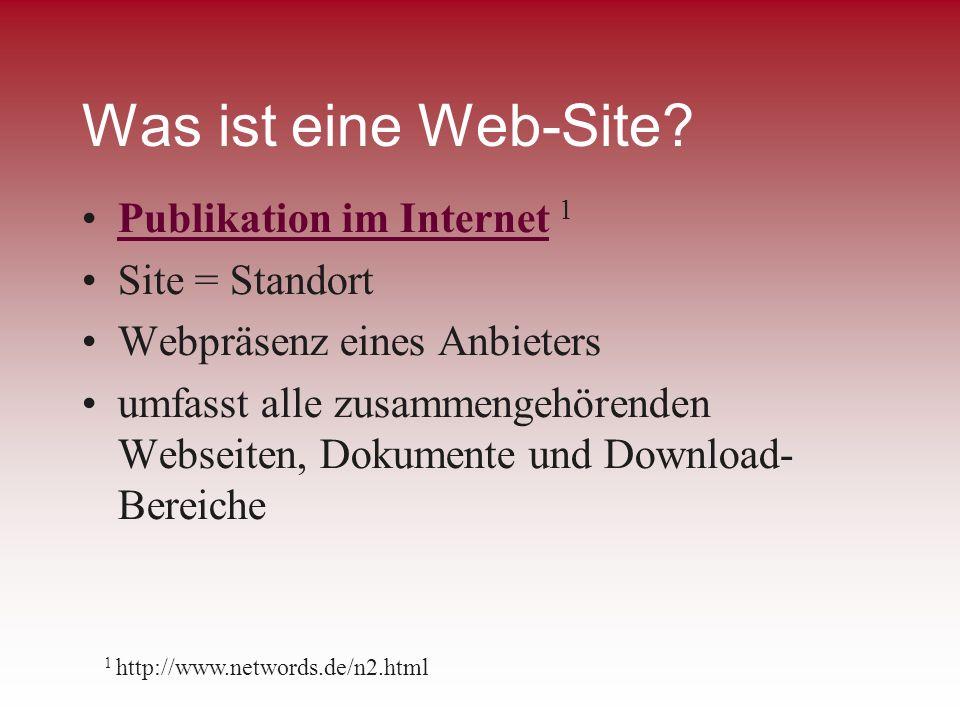Was ist eine Web-Site? Publikation im Internet 1Publikation im Internet Site = Standort Webpräsenz eines Anbieters umfasst alle zusammengehörenden Web