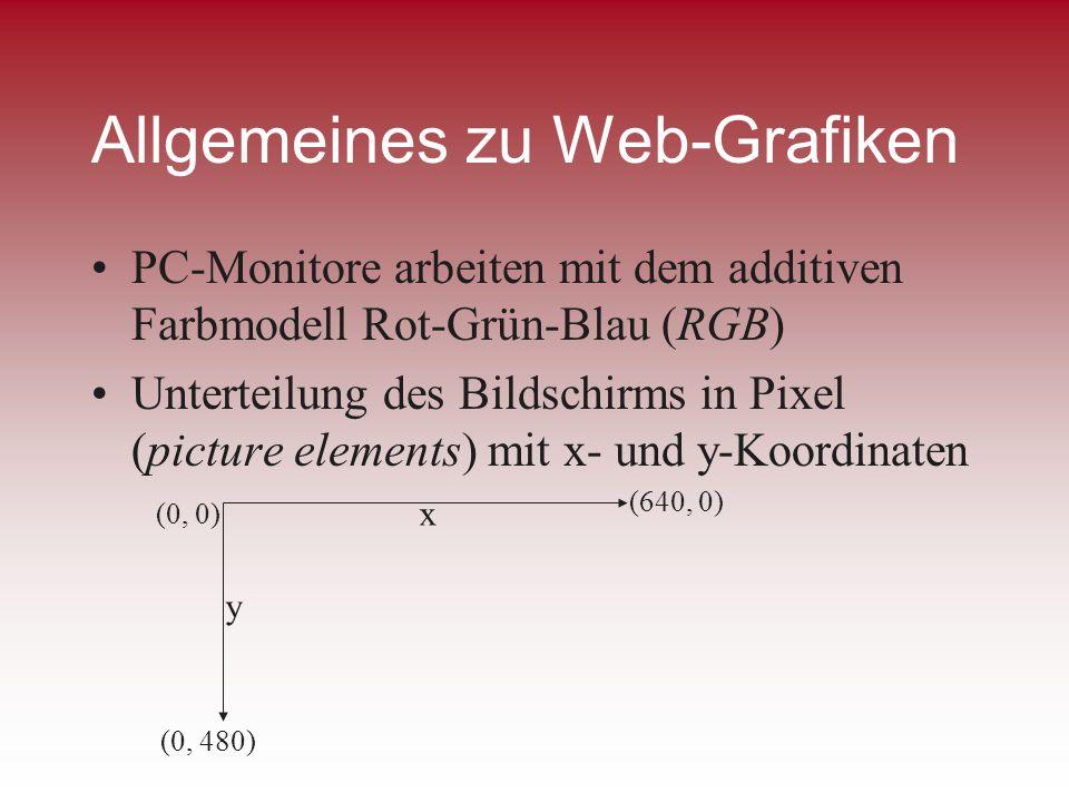 Allgemeines zu Web-Grafiken PC-Monitore arbeiten mit dem additiven Farbmodell Rot-Grün-Blau (RGB) Unterteilung des Bildschirms in Pixel (picture eleme
