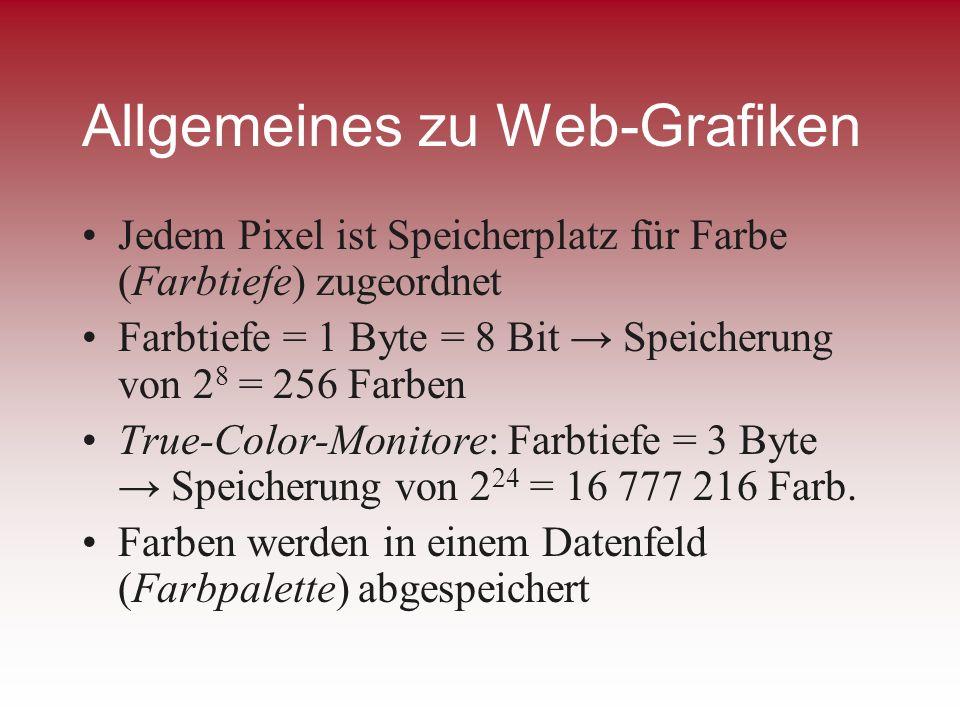 Allgemeines zu Web-Grafiken Jedem Pixel ist Speicherplatz für Farbe (Farbtiefe) zugeordnet Farbtiefe = 1 Byte = 8 Bit Speicherung von 2 8 = 256 Farben