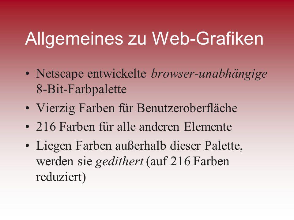 Allgemeines zu Web-Grafiken Netscape entwickelte browser-unabhängige 8-Bit-Farbpalette Vierzig Farben für Benutzeroberfläche 216 Farben für alle ander