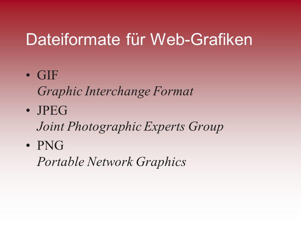 Dateiformate für Web-Grafiken GIF Graphic Interchange Format JPEG Joint Photographic Experts Group PNG Portable Network Graphics