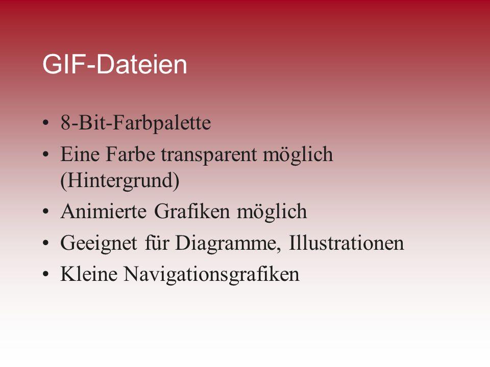 GIF-Dateien 8-Bit-Farbpalette Eine Farbe transparent möglich (Hintergrund) Animierte Grafiken möglich Geeignet für Diagramme, Illustrationen Kleine Na