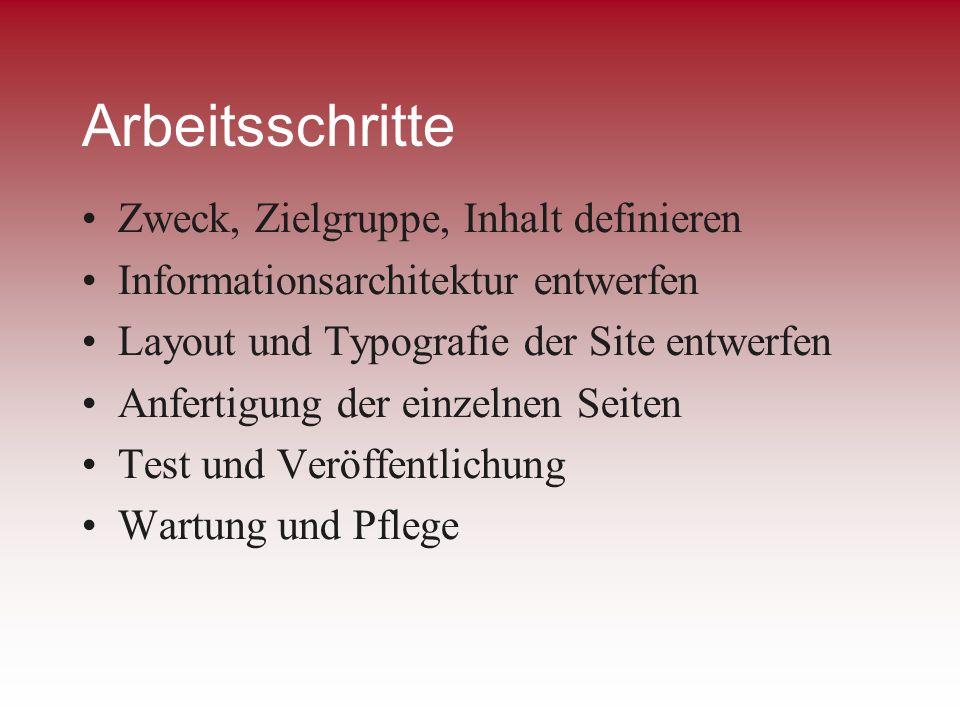 Arbeitsschritte Zweck, Zielgruppe, Inhalt definieren Informationsarchitektur entwerfen Layout und Typografie der Site entwerfen Anfertigung der einzel