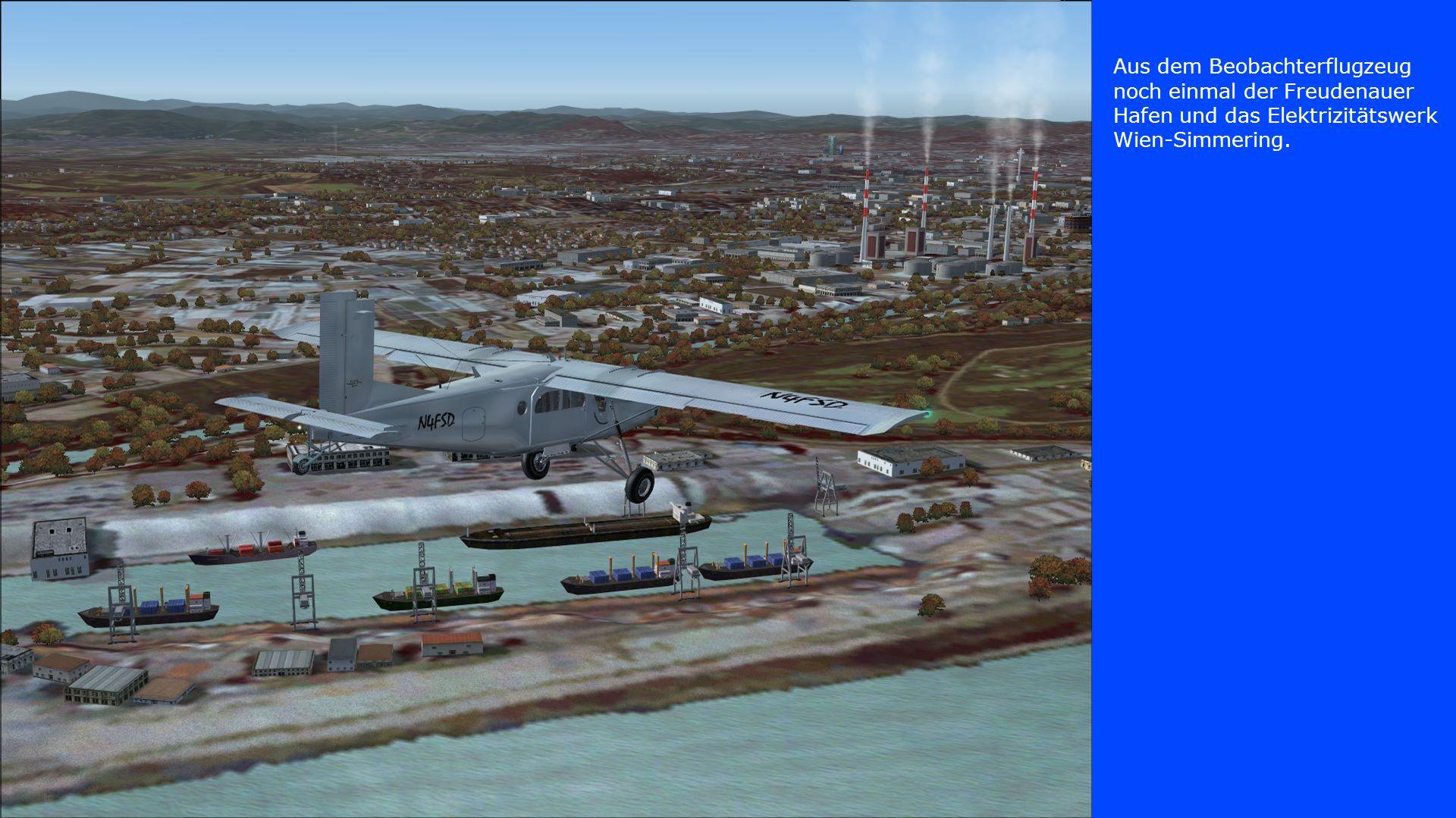 Aus dem Beobachterflugzeug noch einmal der Freudenauer Hafen und das Elektrizitätswerk Wien-Simmering.