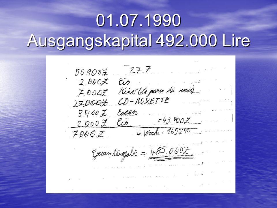 01.07.1990 Ausgangskapital 492.000 Lire