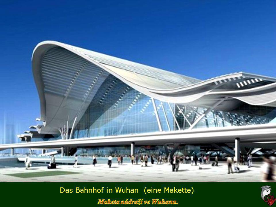 Das Bahnhof in Wuhan – Innenráume mit Zugsgarnituren