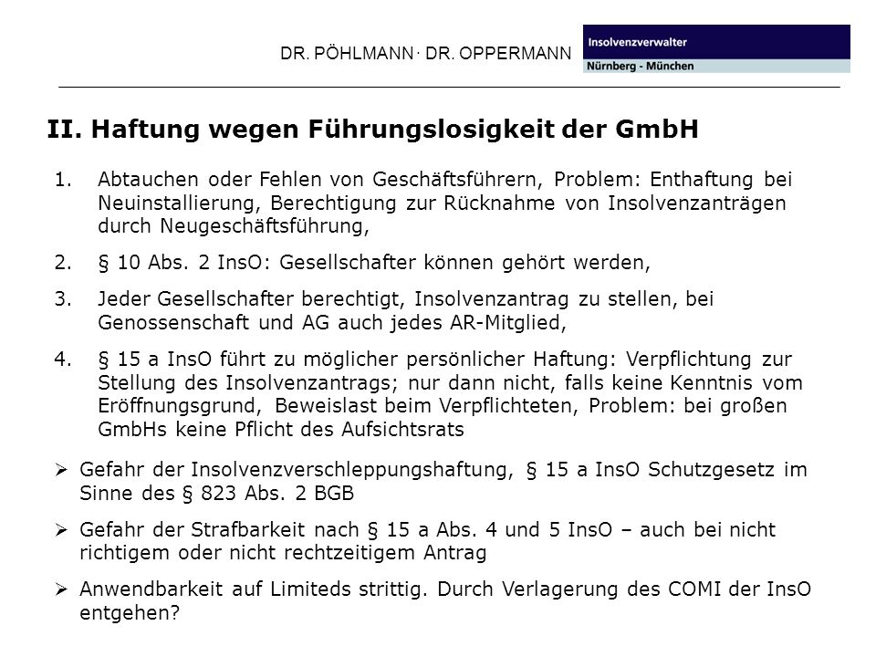 DR.PÖHLMANN · DR. OPPERMANN III. Kapitalaufbringung und Haftung 1.