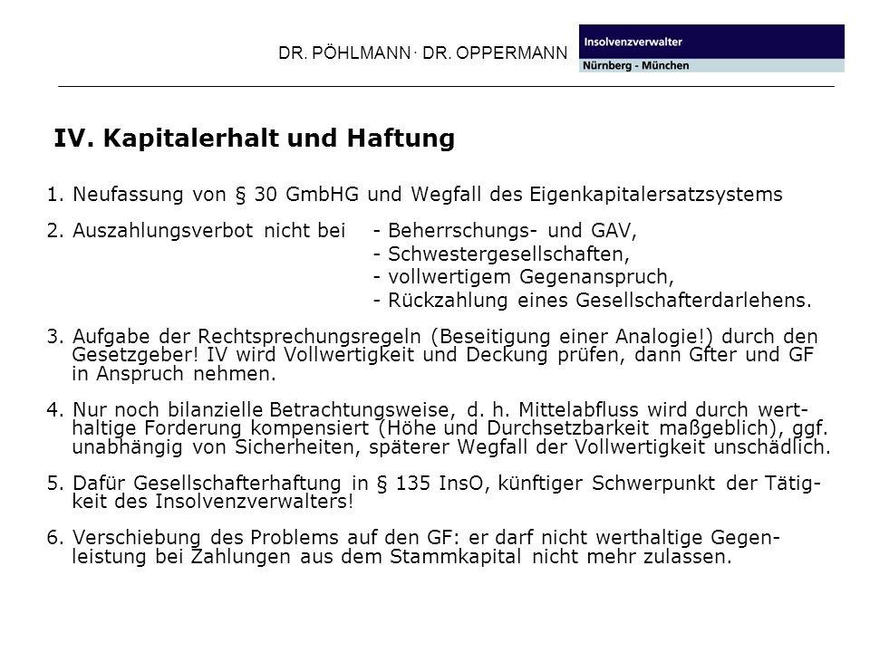 DR. PÖHLMANN · DR. OPPERMANN IV. Kapitalerhalt und Haftung 1. Neufassung von § 30 GmbHG und Wegfall des Eigenkapitalersatzsystems 2. Auszahlungsverbot