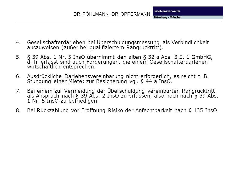 DR. PÖHLMANN · DR. OPPERMANN 4. Gesellschafterdarlehen bei Überschuldungsmessung als Verbindlichkeit auszuweisen (außer bei qualifiziertem Rangrücktri