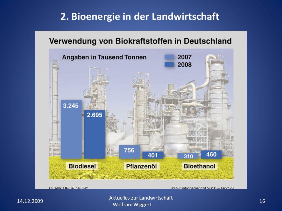 14.12.2009 Aktuelles zur Landwirtschaft Wolfram Wiggert 16 2. Bioenergie in der Landwirtschaft