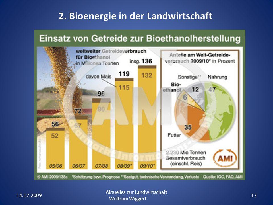 14.12.2009 Aktuelles zur Landwirtschaft Wolfram Wiggert 17 2. Bioenergie in der Landwirtschaft