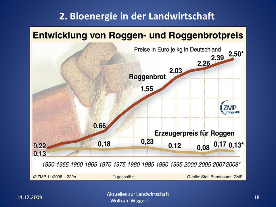 14.12.2009 Aktuelles zur Landwirtschaft Wolfram Wiggert 18 2. Bioenergie in der Landwirtschaft