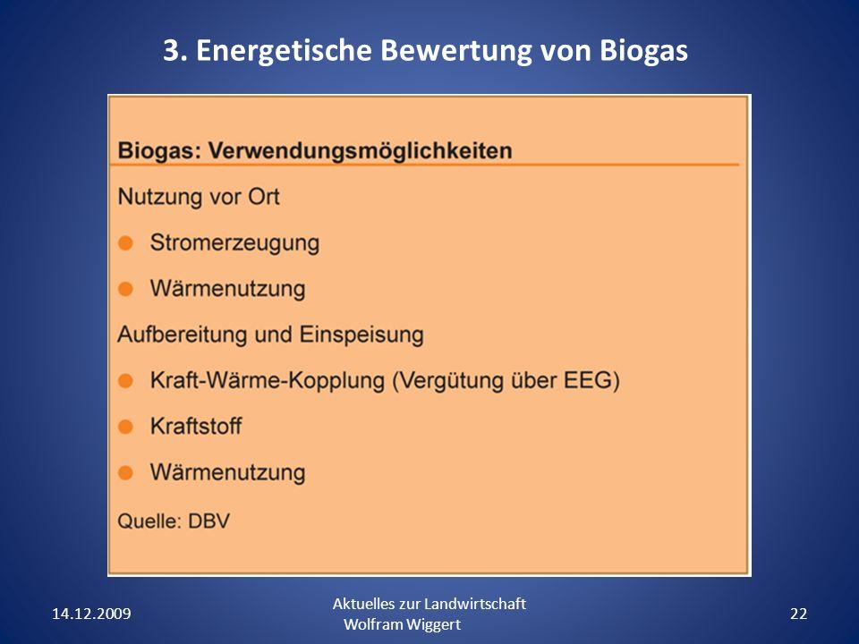 14.12.2009 Aktuelles zur Landwirtschaft Wolfram Wiggert 22 3. Energetische Bewertung von Biogas