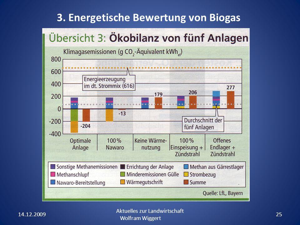 14.12.2009 Aktuelles zur Landwirtschaft Wolfram Wiggert 25 3. Energetische Bewertung von Biogas