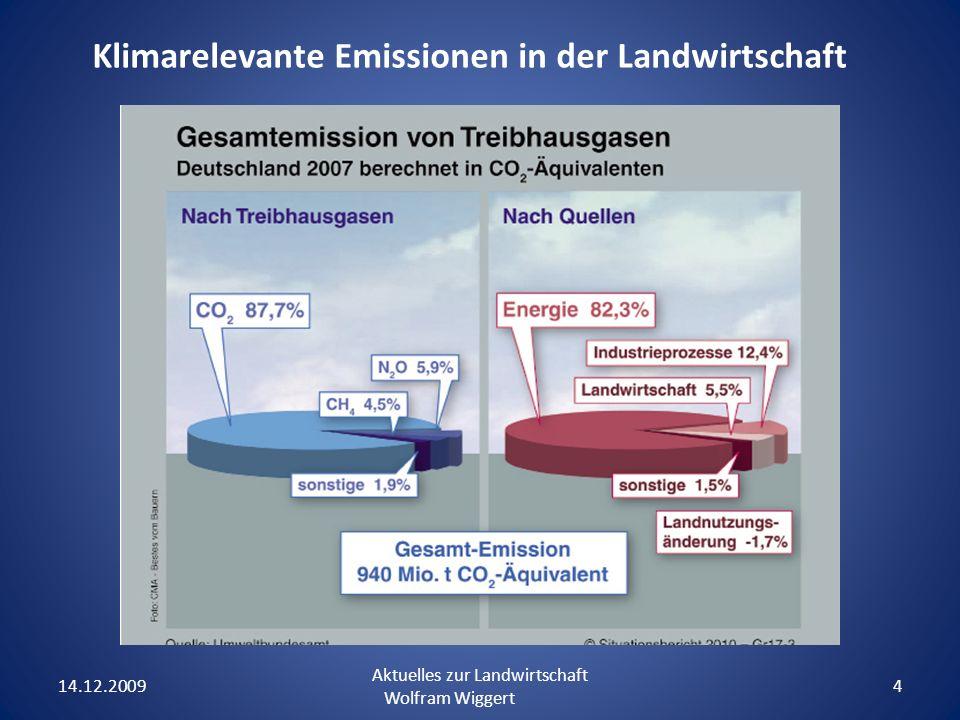 14.12.2009 Aktuelles zur Landwirtschaft Wolfram Wiggert 4 Klimarelevante Emissionen in der Landwirtschaft