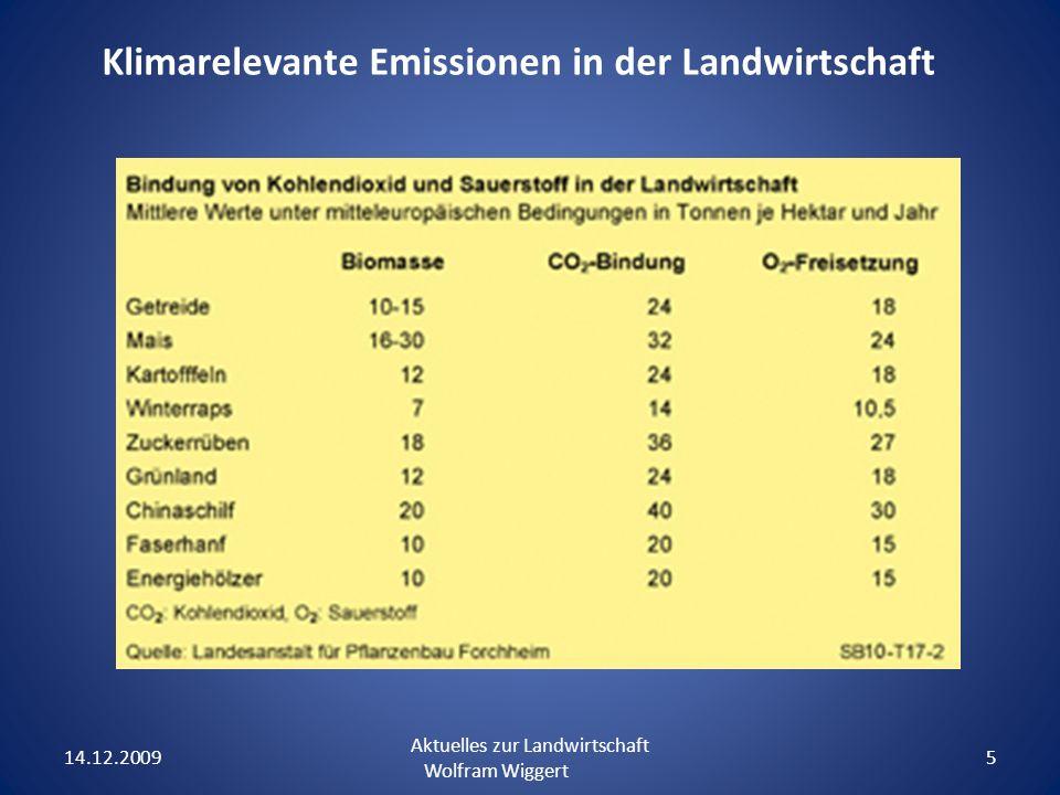 14.12.2009 Aktuelles zur Landwirtschaft Wolfram Wiggert 5 Klimarelevante Emissionen in der Landwirtschaft