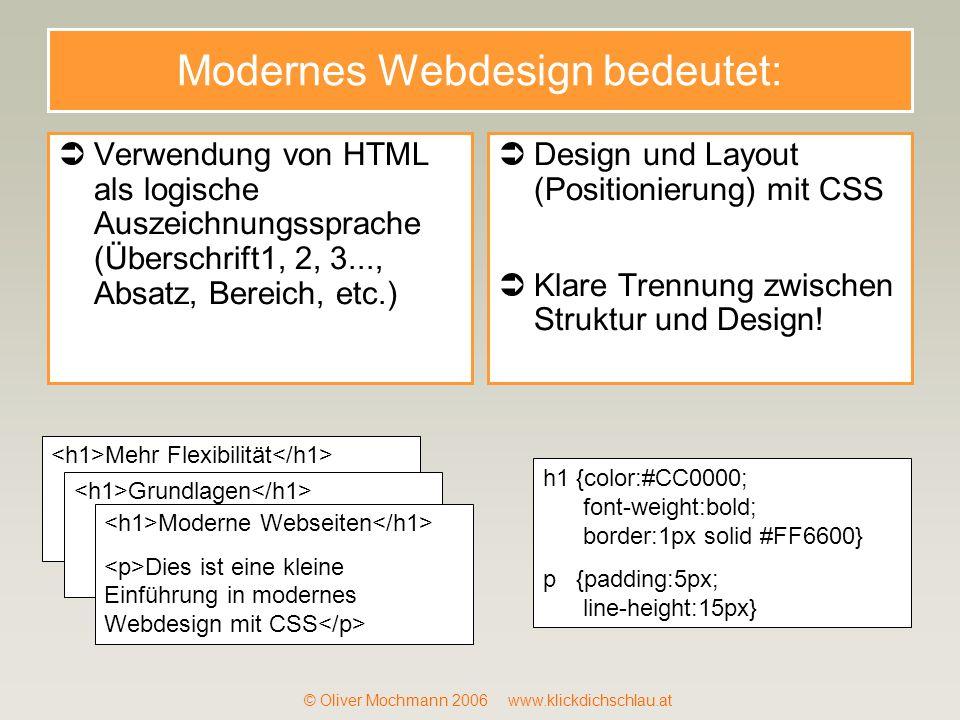 © Oliver Mochmann 2006 www.klickdichschlau.at Modernes Webdesign bedeutet: Verwendung von HTML als logische Auszeichnungssprache (Überschrift1, 2, 3..