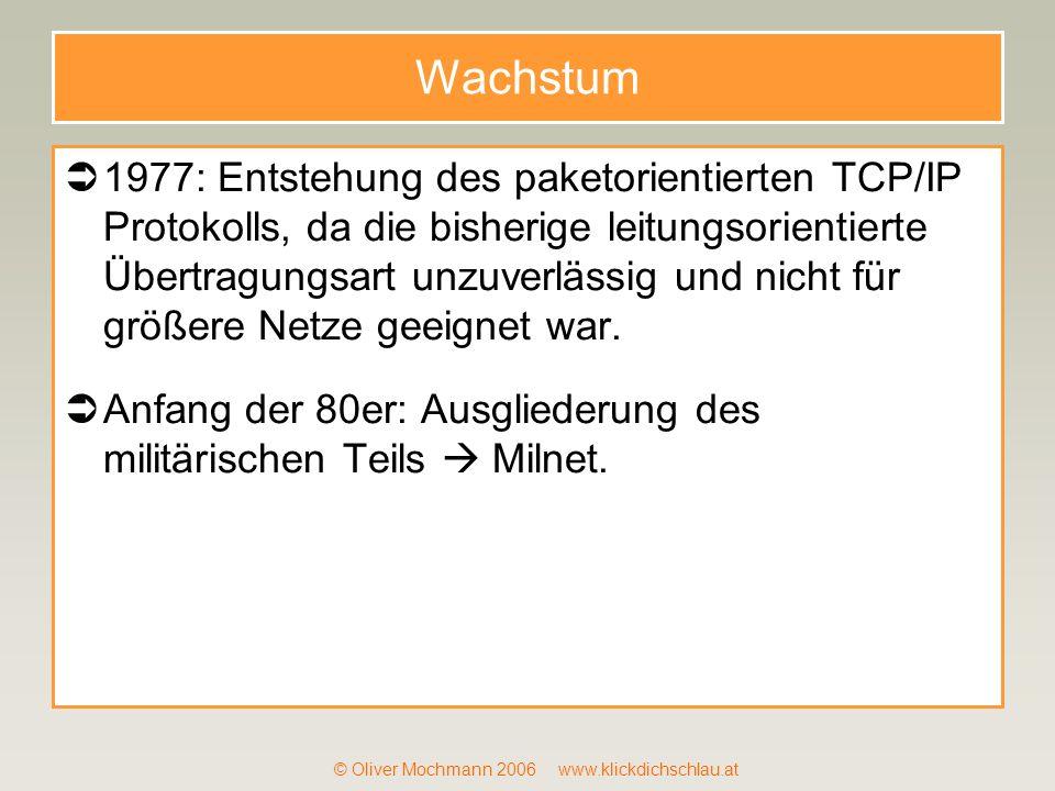 © Oliver Mochmann 2006 www.klickdichschlau.at Wachstum 1977: Entstehung des paketorientierten TCP/IP Protokolls, da die bisherige leitungsorientierte