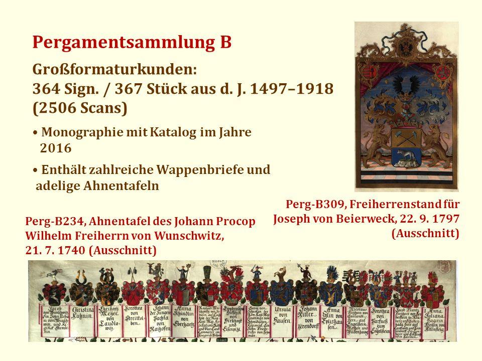 Pergamentsammlung B Großformaturkunden: 364 Sign. / 367 Stück aus d. J. 1497–1918 (2506 Scans) Enthält zahlreiche Wappenbriefe und adelige Ahnentafeln