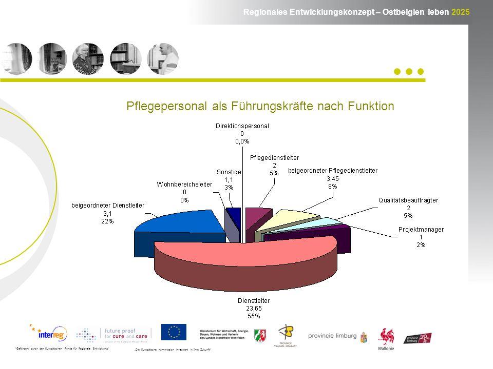 Regionales Entwicklungskonzept – Ostbelgien leben 2025 Gefördert durch den Europäischen Fonds für Regionale Entwicklung Die Europäische Kommission investiert in Ihre Zukunft Pflegepersonal als Führungskräfte nach Funktion