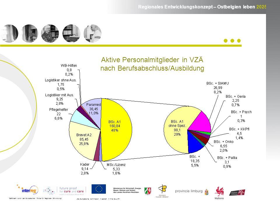 Regionales Entwicklungskonzept – Ostbelgien leben 2025 Gefördert durch den Europäischen Fonds für Regionale Entwicklung Die Europäische Kommission investiert in Ihre Zukunft Aktive Personalmitglieder in VZÄ nach Berufsabschluss/Ausbildung