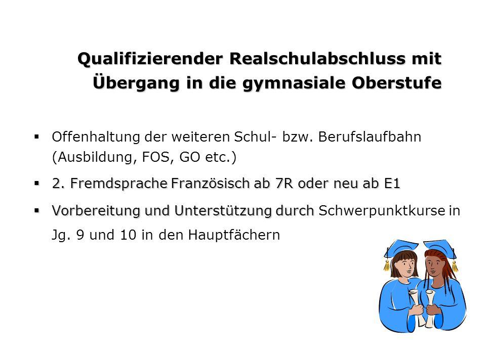 Qualifizierender Realschulabschluss mit Übergang in die gymnasiale Oberstufe Offenhaltung der weiteren Schul- bzw.