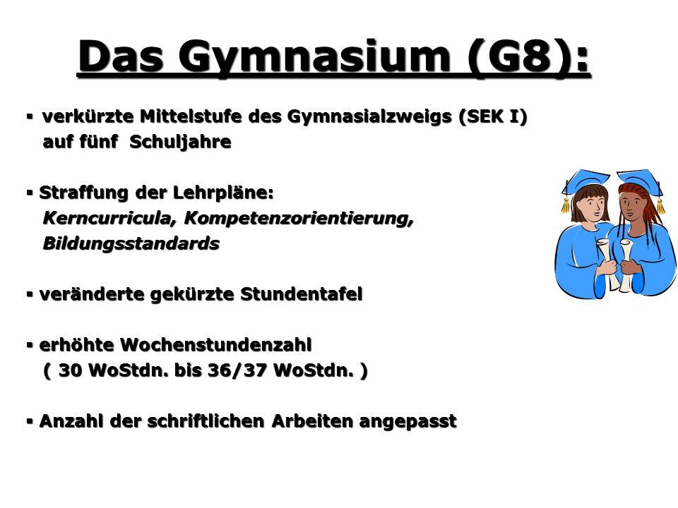 Das Gymnasium (G8): verkürzte Mittelstufe des Gymnasialzweigs (SEK I) verkürzte Mittelstufe des Gymnasialzweigs (SEK I) auf fünf Schuljahre auf fünf S