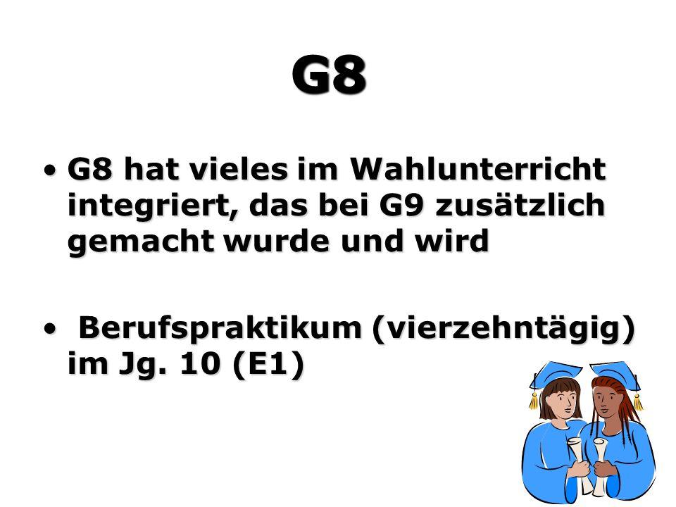 G8 hat vieles im Wahlunterricht integriert, das bei G9 zusätzlich gemacht wurde und wirdG8 hat vieles im Wahlunterricht integriert, das bei G9 zusätzlich gemacht wurde und wird Berufspraktikum (vierzehntägig) im Jg.