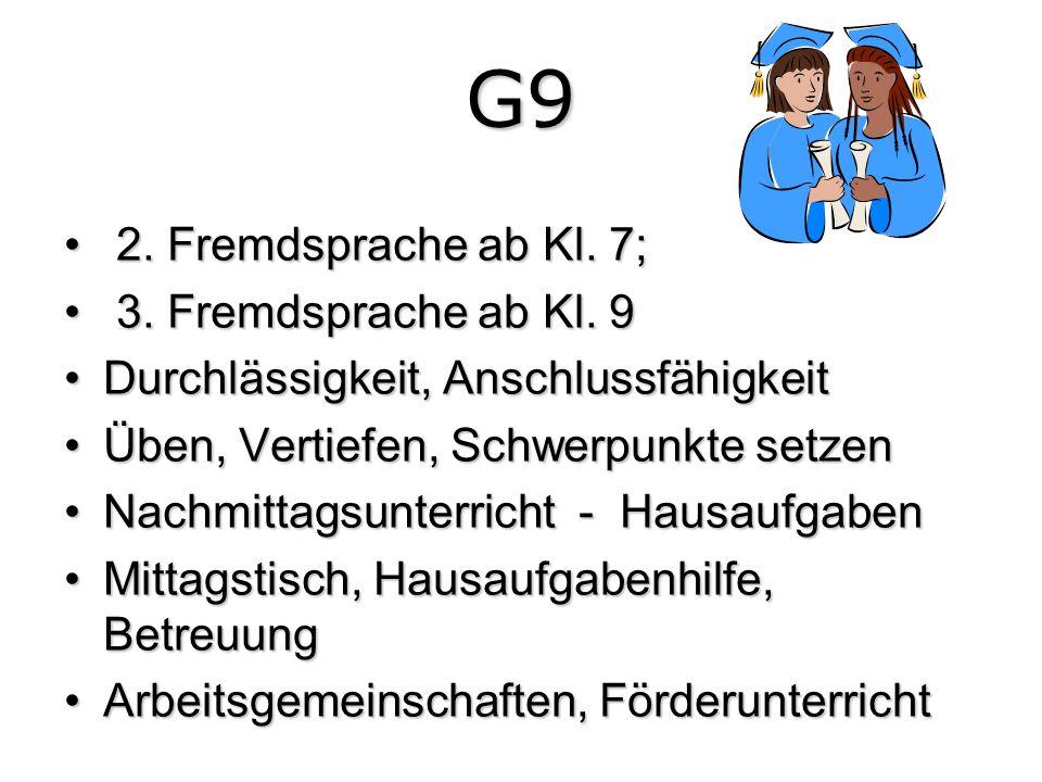 G9 2. Fremdsprache ab Kl. 7; 2. Fremdsprache ab Kl. 7; 3. Fremdsprache ab Kl. 9 3. Fremdsprache ab Kl. 9 Durchlässigkeit, AnschlussfähigkeitDurchlässi
