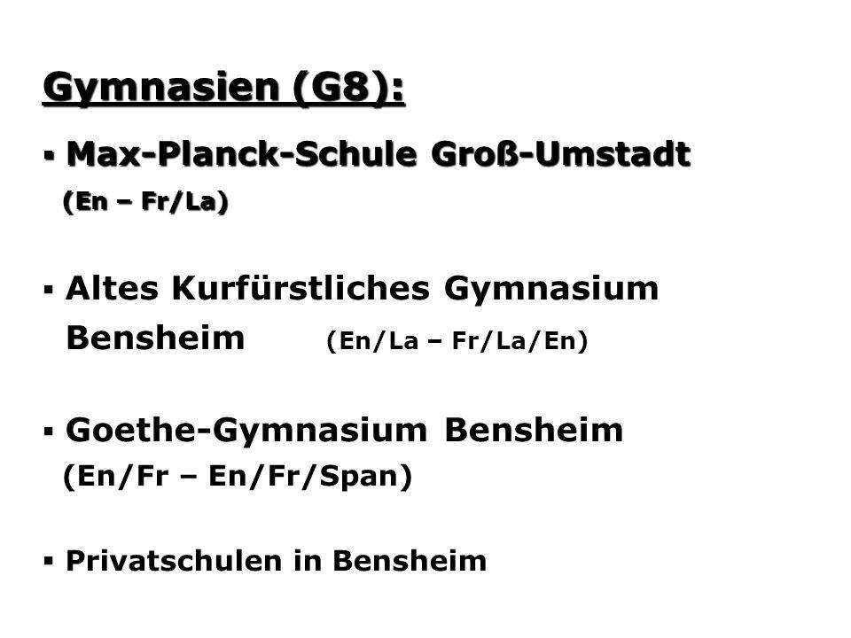 Gymnasien (G8): Max-Planck-Schule Groß-Umstadt Max-Planck-Schule Groß-Umstadt (En – Fr/La) (En – Fr/La) Altes Kurfürstliches Gymnasium Bensheim (En/La – Fr/La/En) Goethe-Gymnasium Bensheim (En/Fr – En/Fr/Span) Privatschulen in Bensheim