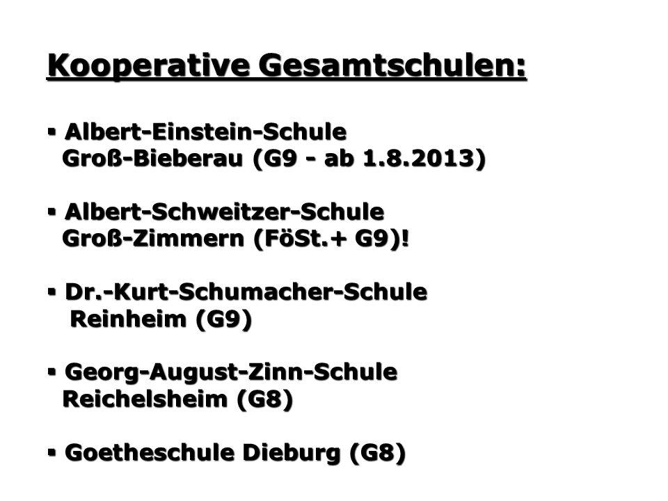 Kooperative Gesamtschulen: Albert-Einstein-Schule Albert-Einstein-Schule Groß-Bieberau (G9 - ab 1.8.2013) Groß-Bieberau (G9 - ab 1.8.2013) Albert-Schweitzer-Schule Albert-Schweitzer-Schule Groß-Zimmern (FöSt.+ G9).