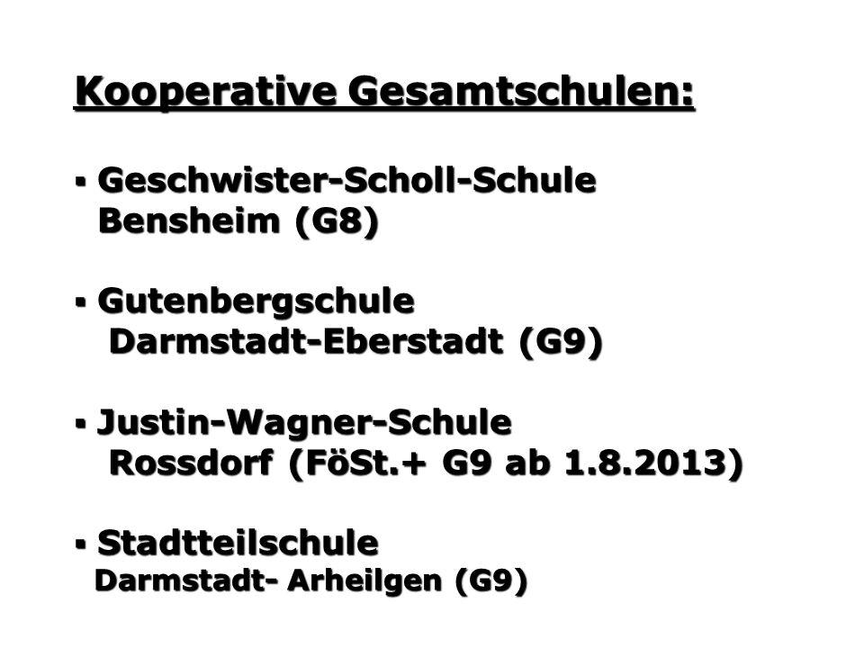Kooperative Gesamtschulen: Geschwister-Scholl-Schule Geschwister-Scholl-Schule Bensheim (G8) Bensheim (G8) Gutenbergschule Gutenbergschule Darmstadt-Eberstadt (G9) Darmstadt-Eberstadt (G9) Justin-Wagner-Schule Justin-Wagner-Schule Rossdorf (FöSt.+ G9 ab 1.8.2013) Rossdorf (FöSt.+ G9 ab 1.8.2013) Stadtteilschule Stadtteilschule Darmstadt- Arheilgen (G9) Darmstadt- Arheilgen (G9)