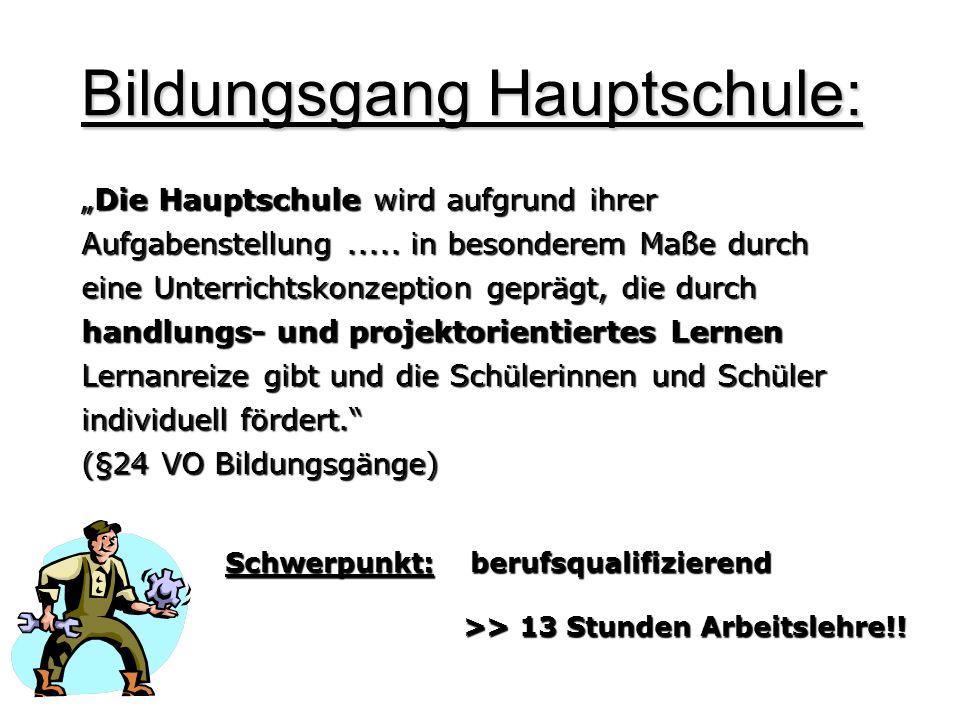 Bildungsgang Hauptschule: Die Hauptschule wird aufgrund ihrer Aufgabenstellung..... in besonderem Maße durch eine Unterrichtskonzeption geprägt, die d