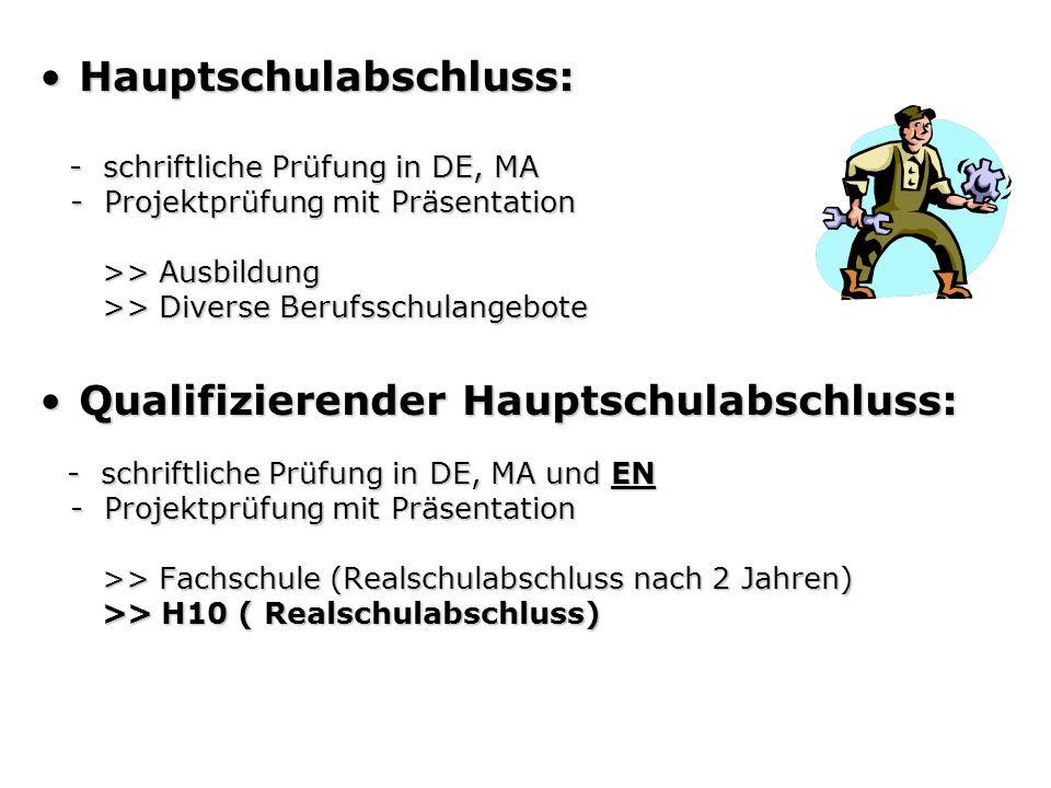 Hauptschulabschluss:Hauptschulabschluss: - schriftliche Prüfung in DE, MA - schriftliche Prüfung in DE, MA - Projektprüfung mit Präsentation - Projekt