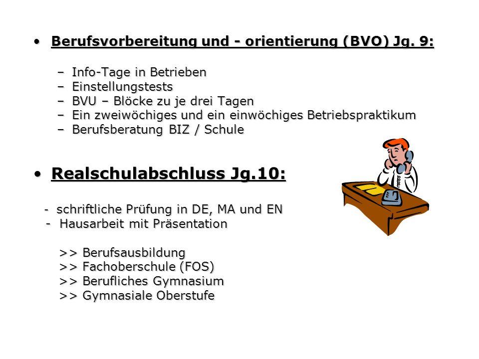 Berufsvorbereitung und - orientierung (BVO) Jg. 9:Berufsvorbereitung und - orientierung (BVO) Jg. 9: –Info-Tage in Betrieben –Einstellungstests –BVU –