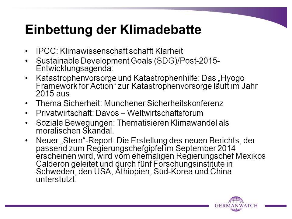Einbettung der Klimadebatte IPCC: Klimawissenschaft schafft Klarheit Sustainable Development Goals (SDG)/Post-2015- Entwicklungsagenda: Katastrophenvo