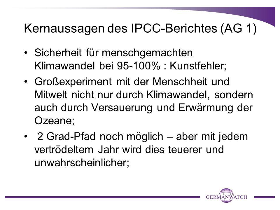 Kernaussagen des IPCC-Berichtes (AG 1) Sicherheit für menschgemachten Klimawandel bei 95-100% : Kunstfehler; Großexperiment mit der Menschheit und Mit