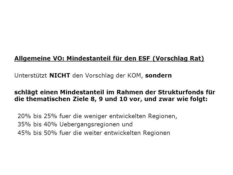 Allgemeine VO: Mindestanteil für den ESF (Vorschlag Rat) Unterstützt NICHT den Vorschlag der KOM, sondern schlägt einen Mindestanteil im Rahmen der St
