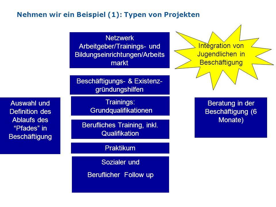 Nehmen wir ein Beispiel (1): Typen von Projekten Auswahl und Definition des Ablaufs des Pfades in Beschäftigung Sozialer und Beruflicher Follow up Int