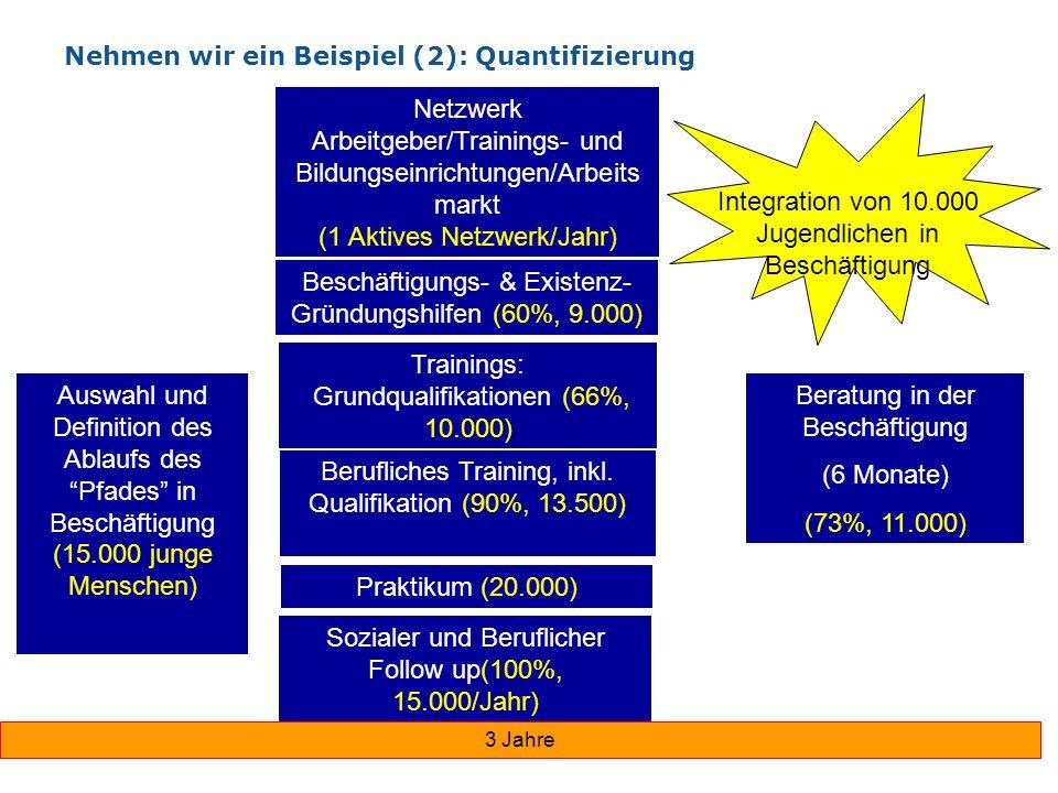 Nehmen wir ein Beispiel (2): Quantifizierung Auswahl und Definition des Ablaufs des Pfades in Beschäftigung (15.000 junge Menschen) Sozialer und Beruf