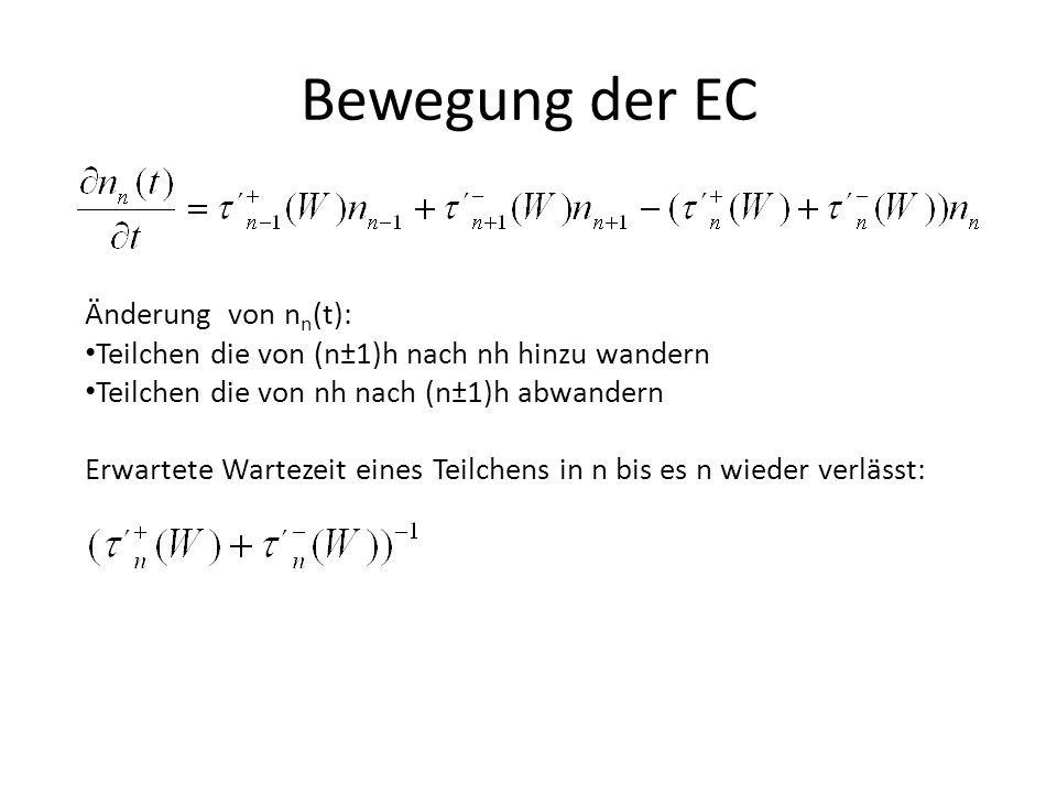 Bewegung der EC Änderung von n n (t): Teilchen die von (n±1)h nach nh hinzu wandern Teilchen die von nh nach (n±1)h abwandern Erwartete Wartezeit eines Teilchens in n bis es n wieder verlässt: