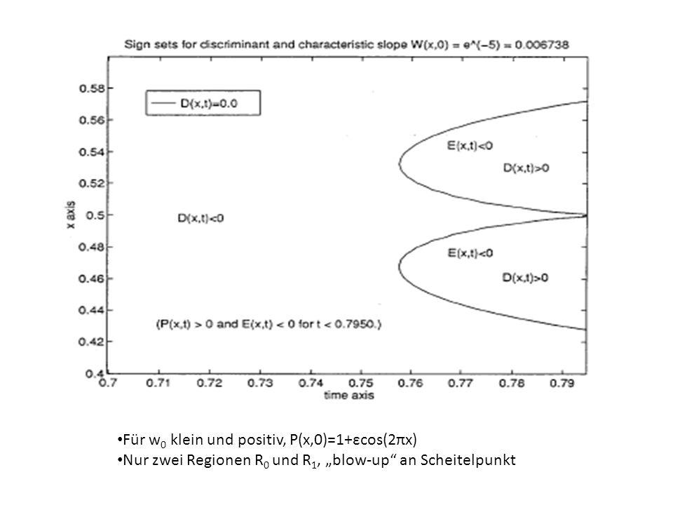 Für w 0 klein und positiv, P(x,0)=1+εcos(2πx) Nur zwei Regionen R 0 und R 1, blow-up an Scheitelpunkt